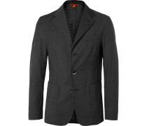 Grey Slim-fit Unstructured Pin-dot Virgin Wool Suit Jacket