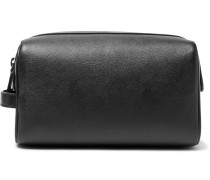Cross-grain Leather Wash Bag