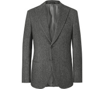 Anthracite Mélange Wool Blazer - Gray