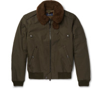Shearling-trimmed Cotton-blend Twill Down Bomber Jacket