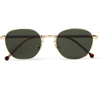 Round-frame Engraved Gold-tone Sunglasses
