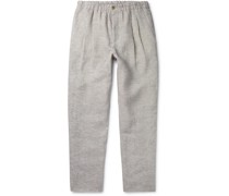 Tapered Pleated Mélange Linen-Piqué Trousers
