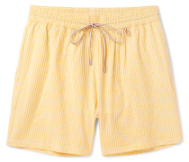 Mid-length Striped Cotton-blend Swim Shorts