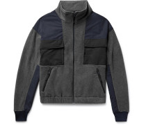 Embroidered Canvas-panelled Fleece Zip-up Jacket
