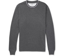 Stripe-trimmed Loopback Cotton-jersey Sweatshirt