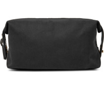 Leather-trimmed Cotton-twill Wash Bag