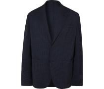 Unstructured Gingham Wool-Blend Seersucker Blazer