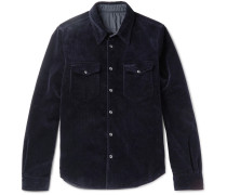 Slim-fit Reversible Cotton-corduroy And Shell Jacket