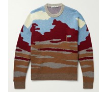 Wool and Cotton-Blend Jacquard Sweater