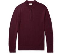 Mélange Merino Wool Half-zip Sweater