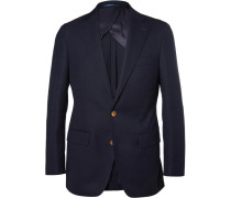 Blue Slim-fit Woven-wool Blazer