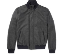 Herringbone Trofeo Wool And Cashmere-blend Bomber Jacket