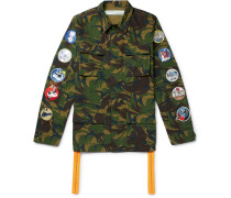 Appliquéd Camouflage-print Cotton-ripstop Field Jacket