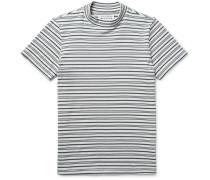 Striped Cotton Mock-neck T-shirt