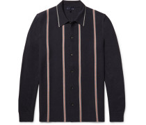 Striped Knitted Merino Wool And Cotton-blend Shirt
