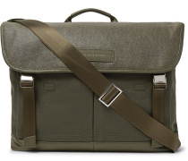 Jackson Leather-trimmed Waxed Cotton-canvas Messenger Bag