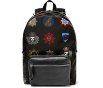 Printed Leather-trimmed Shell Backpack