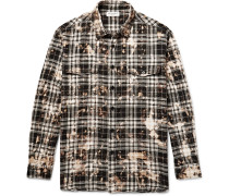 Oversized Bleached Checked Stretch-cotton Flannel Shirt