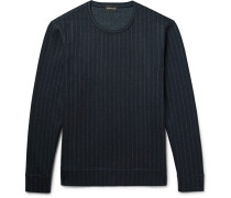 Pinstriped Wool-blend Sweatshirt