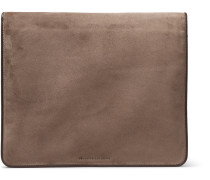 Suede And Leather-trimmed Portfolio