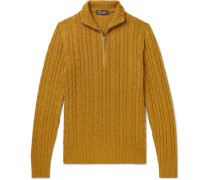 Suede-Trimmed Cable-Knit Baby Cashmere Zip-Up Sweater
