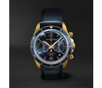 BR V2-94 Aéronavale Bronze Limited Edition Automatic Chronograph 41mm Bronze and Leather Watch, Ref No. BRV294-BLU-BR/SCA