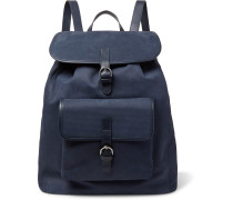 Leather-trimmed Textured-suede Backpack