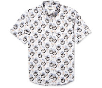 Button-down Collar Floral-print Cotton-poplin Shirt