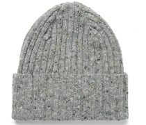 Ribbed Mélange Lambswool Beanie