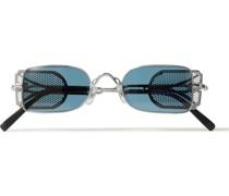 Rectangle-Frame Titanium Sunglasses