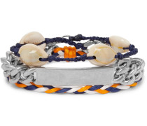 Shell, Braided Cord And Silver-tone Wrap Bracelet