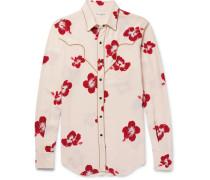 Slim-fit Penny Collar Metallic-trimmed Floral-print Crepe Shirt