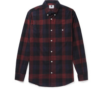 New Derek Button-down Collar Checked Cotton-flannel Shirt