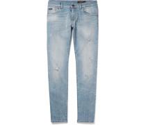Slim-fit Distressed Stretch-denim Jeans