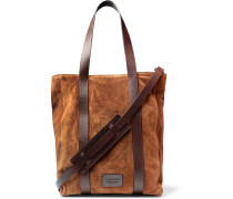 Leather-trimmed Suede Tote Bag