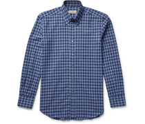 Button-down Collar Gingham Cotton-flannel Shirt