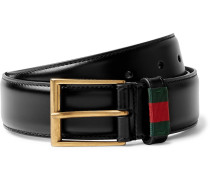 3.5cm Black Webbing-trimmed Leather Belt