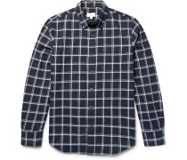 Slim-fit Button-down Collar Windowpane-checked Cotton-flannel Shirt