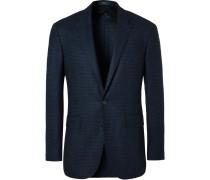 Blue Slim-fit Houndstooth Wool Blazer