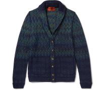 Shawl-collar Patterned Wool-blend Cardigan