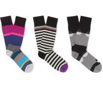 Three-pack Stretch Cotton-blend Socks