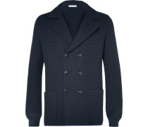 Blue Double-breasted Knitted Wool Blazer