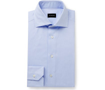 Light-Blue Cutaway-Collar Puppytooth Cotton Shirt