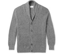 Shawl-collar Mélange Wool And Cotton-blend Cardigan