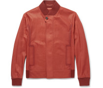 Washed-leather Bomber Jacket