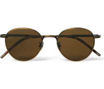 Round-frame Bronze-tone And Acetate Sunglasses
