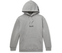 Oversized Logo-Print Appliquéd Fleece-Back Cotton-Blend Jersey Hoodie