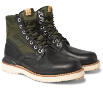 Folk Canvas-panelled Leather Boots