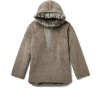 Oversized Faux Fur-Trimmed Fleece Hoodie