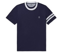 Slim-Fit Logo-Embroidered Striped Cotton-Jersey T-Shirt